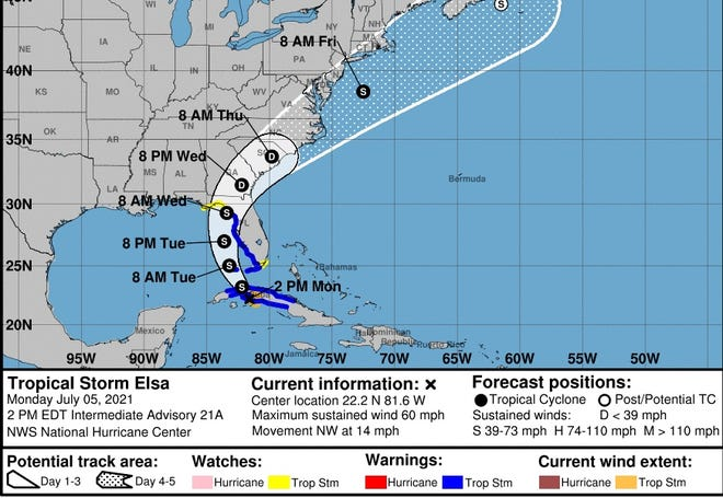 The 2 p.m. Monday advisory from the National Hurricane Center for Tropical Storm Elsa.
