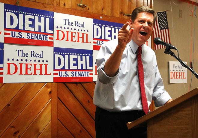Former state Rep. Geoff Diehl speaks during his campaign for the U.S. Senate in 2018. He is running for governor in the 2022 election.