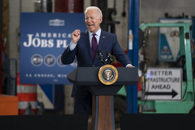 President Joe Biden speaks about infrastructure spending at the La Crosse Municipal Transit Authority, Tuesday, June 29, 2021, in La Crosse, Wis.