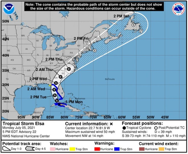 NHC 5 p.m. forecast.