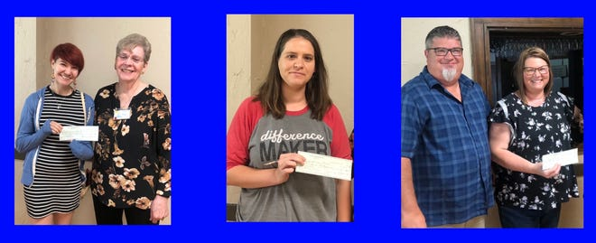 Pilot Club President Jeanette Gaider (second from left) presents a check for $215 to April Hemphill for the Pratt Area Humane Society, $155 was given to Ashley Jorns for Arrowhead West (middle) and  $135 was given to Pam Ford and Scott Howell (right) for the Hope Center in Pratt.