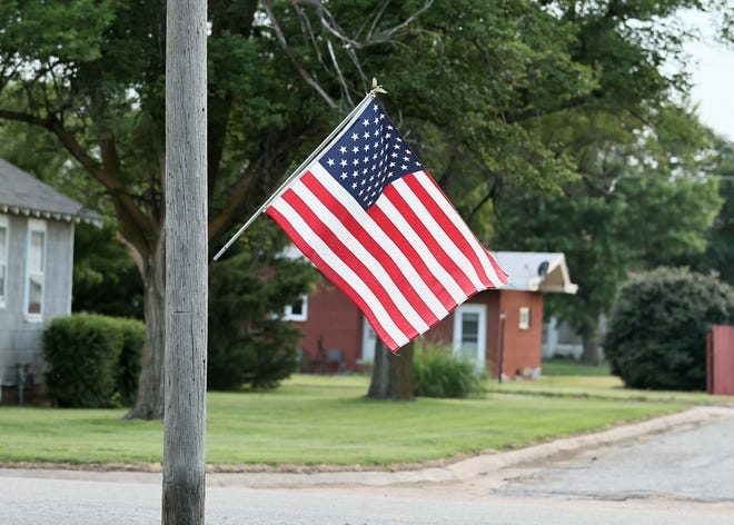 An America flag waves proudly in St. John as the city prepared for the Fourth of July holiday last weekend.