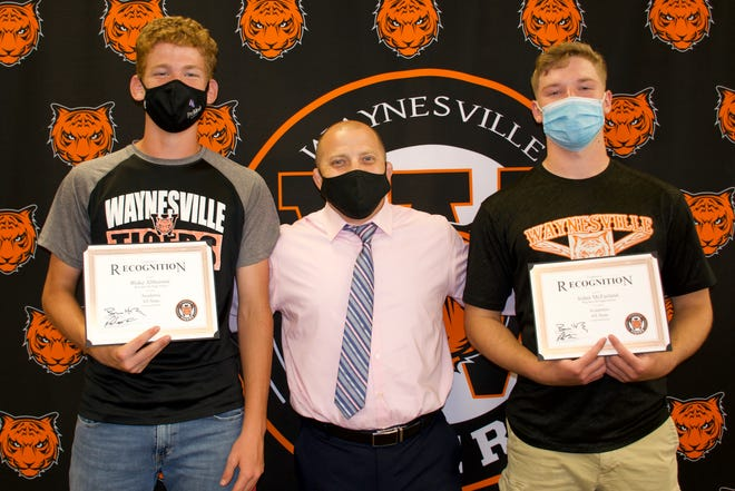 Waynesville High School baseball players Blake Althuisius and Aidan McFarland were recognized by Athletic Director Cory Ace. Hunter Poole, not pictured.