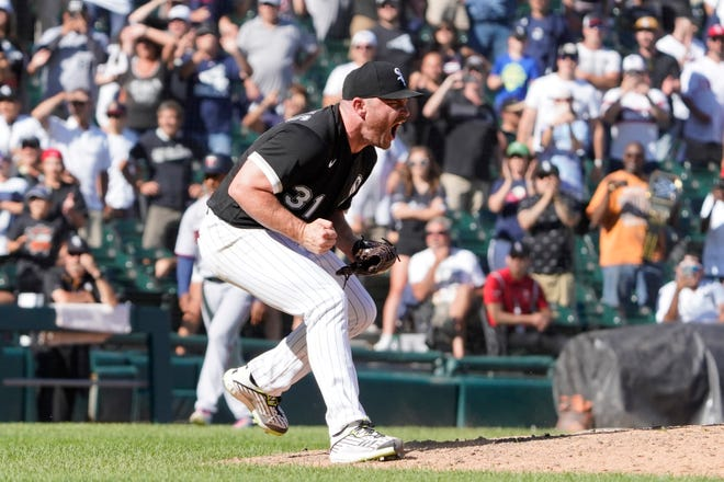Chicago White Sox relief pitcher Liam Hendriks celebrates after the final out against the Minnesota Twins at Guaranteed Rate Field July 1, 2021, in Chicago.