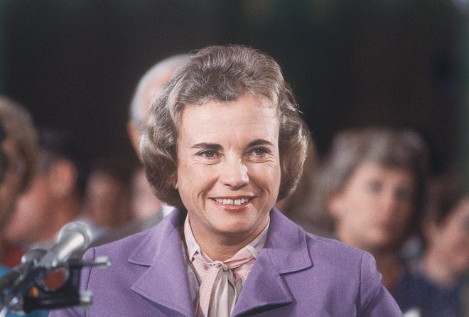 Judge Sandra Day O'Connor speaks before a Senate hearing on her nomination to U.S. Supreme Court in Washington on Sept. 9, 1981. On July 7, 1981, President Ronald Reagan announced he was nominating O'Connor to become the first female justice on the U.S. Supreme Court.