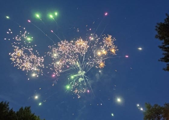 Fireworks in the sky just south of C.C. Lee Elementary school Sunday night. The big city display was at Wylie Park.