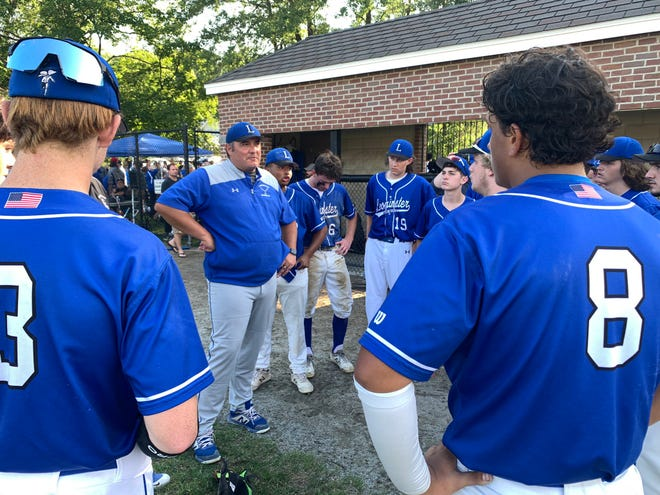 Leominster baseball coach Rich Barnaby praises his team Monday after falling to Xaverian, 2-0, in the Division 1 state final at Doyle Field.