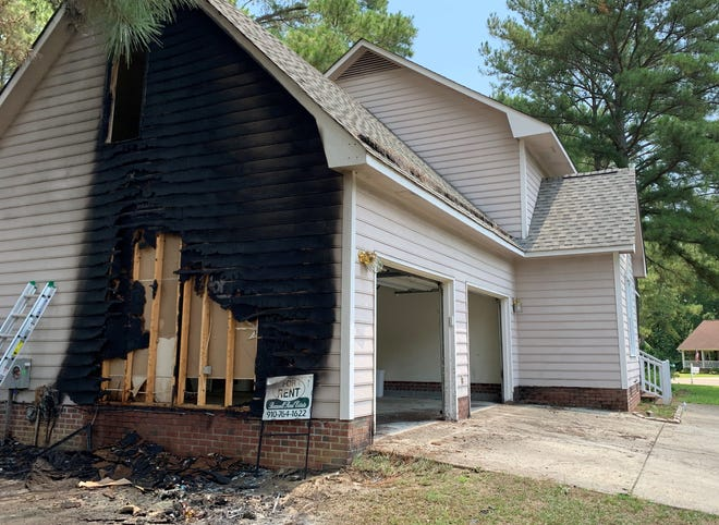 A two-story home in the Landsdowne neighborhood was damaged after a fire started early Monday morning due to Fourth of July fireworks.
