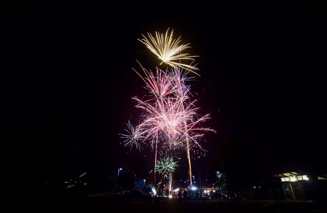 A composite image shows fireworks shot off in a parking lot at Lion's Park in East Bremerton on Independence Day 2021.