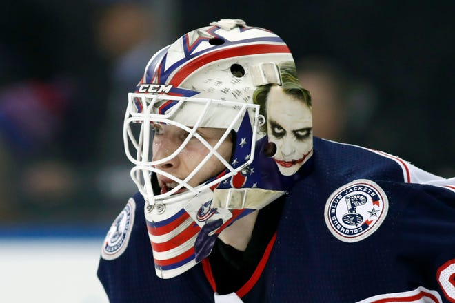 Columbus Blue Jackets goaltender Matiss Kivlenieks (80) is shown during an NHL hockey game in New York in this 2020 photo.