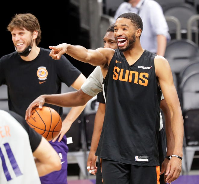 Phoenix Suns forward Mikal Bridges excels offensively and defensively.
