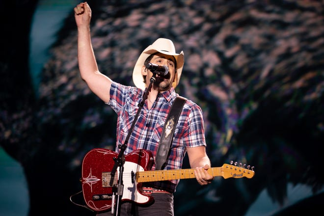 Brad Paisley performs during Let Freedom Sing!  July 4 Music City event in Nashville, Tennessee on Sunday July 4, 2021.