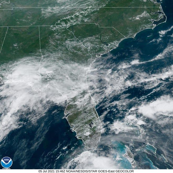 Satellite image of Florida as Elsa nears on Monday.