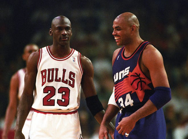 Bulls guard Michael Jordan and Suns forward Charles Barkley face off in the 1993 NBA Finals.
