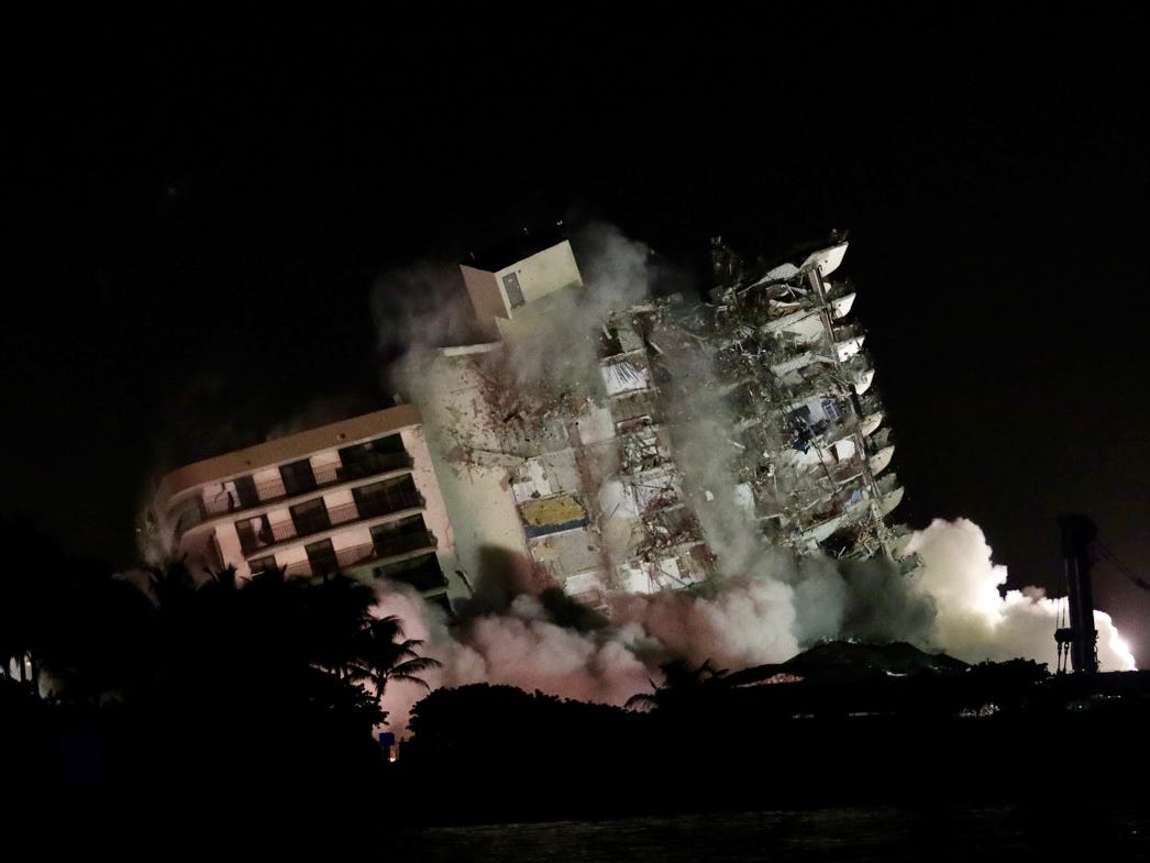 Florida condo brought down by controlled explosions