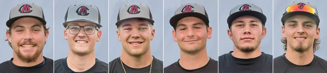 Chillicothe Mudcats named to the MINK League All-Star Game's North Division roster are, from left, Tanner Sears, Scott Duensing, Josh Swinehart, Max Huntley, Koby Linder and Braedyn Brewer.