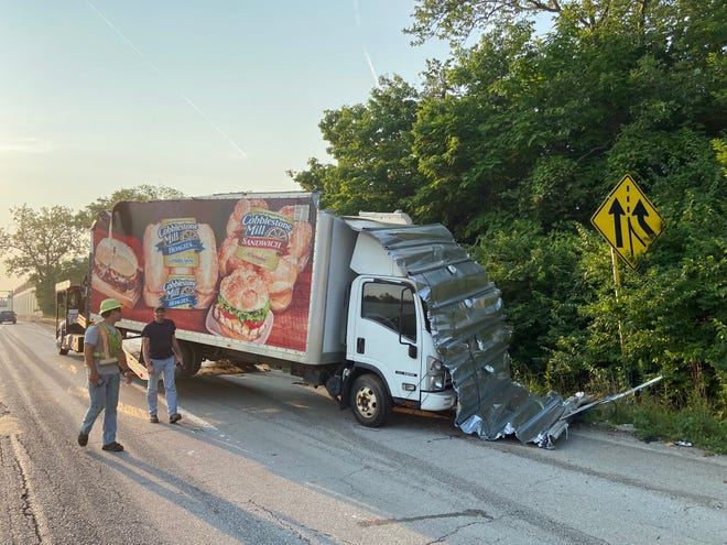 The 3rd Street bridge over I-70 east and I-71 north was closed after a commercial truck struck the underside of the bridge Tuesday morning, shredding the top of the truck.  The interstates were reopened but the bridge remained closed pending a structural investigation