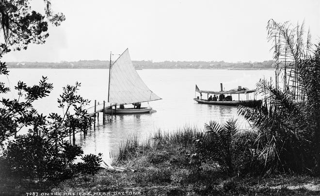 A sailboat and steamboat on the Halifax near Daytona, sometime between 1880 and 1897.