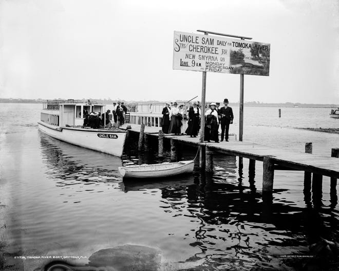 """""""The steamers Cherokee and Uncle Sam of the Halifax and Tomoka River Excursion and Ferry Company are now making the Tomoka River trip daily""""  -- The Daytona Daily News,  Feb. 13, 1911. This photo was taken about 1905."""