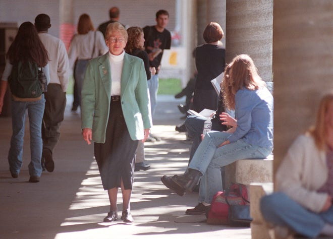University of North Florida President Anne Hopkins walks the campus during her first day on the job in this 1999 file photo.