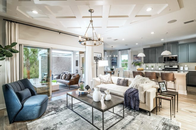 The great room of the Dakota home design by Toll Brothers. The company's newest community, Preserve at Beacon Lake, will open for sale in Fall 2021.