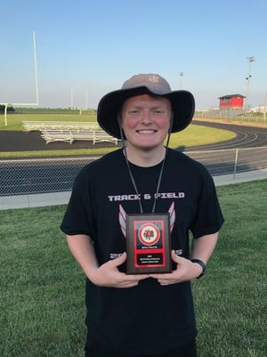 Josh Spranger was named Most Valuable Field Athlete at Orion High School's track and field banquet on Thursday, July 1, at Charger Field. Not pictured are Collin Meisenburg, Most Valuable Track Athlete, and Cole Kimball, Coach's Award.