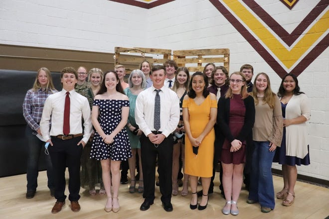 On Monday, May 10, Cambridge High School presented awards to seniors, including, in front from left, Colton Stahl, Lauren Anderson, Jarrett Lund, Sarya DeLeon-Harreld and Baylee Palmer; middle row, Addie Dean, Kiley Martin, Kaley Martin, Kendall Lewis, Victor Snook and Annie Johnson, and in back, Tatum Miller, Brendan Allen, Nick Janson, Brant Casteel, Olivia Akers, Payton Catour and Kaylin Grant.