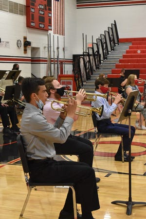 """During the Fine Arts Festival on Tuesday, May 4, Orion High School's concert band performs """"Across the Great Plains,"""" which was composer William Owens' musical depiction of a Pony Express ride."""