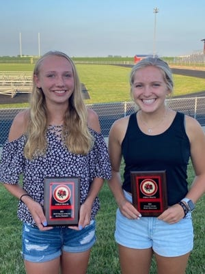 Orion High School held its track and field banquet on Thursday, July 1, at Charger Field. Olivia Thomsen, left, was named Most Valuable Track Athlete and Maryn Bollinger, right, received the Coach's Award. Not pictured is Mackinzie Washburn, Most Valuable Field Athlete.