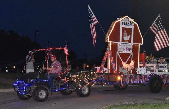 Dahl Farms won the award for best entry overall in the Orion Fireworks Festival's lighted parade on Saturday, July 3.