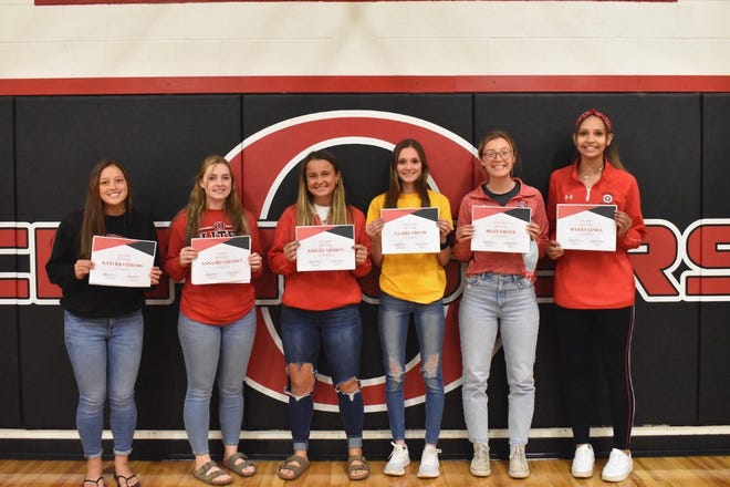 Varsity volleyball awards were presented Friday, May 7, at Orion High School. From left are Kati Kratzberg, Most Digs (251); Anna Silversmet, Most Aces (24); Ashley Awbrey, Most Assists (312); Claire Smith, Coaches Award; Riley Filler, Coaches Award, and Hailey James, Most Kills (135).