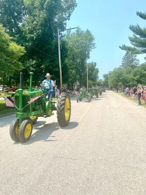 John Deeres as far as the eye can see in the Galva Freedom Fest parade.