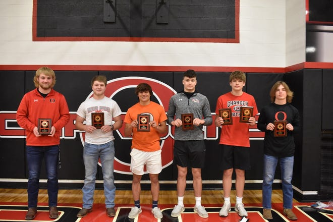 Orion High School's football postseason program was held Sunday, May 9, in the gym. Award winners were, from left, Quinn Hoftender, Offensive Player of the Year; Coby Schultz, Most Valuable Player; Cole Kratzberg, Special Teams Player of the Year; Maddix Moninski, Defensive Player of the Year; Luke Dunlap, varsity Scout Team Player of the Year and frosh-soph Defensive Player of the Year, and Drake Gunn, frosh-soph Offensive Player of the Year.