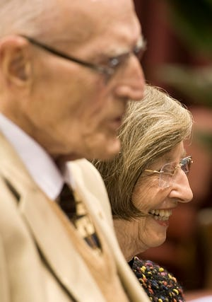 Bill and Gayle Cook attend the 2010 dedication of Cook Hall, a basketball practice facility at Indiana University.