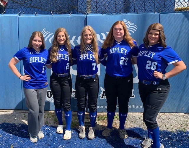 Ripley High's outstanding season in girls softball had a lot to do with great senior leadership. Left to right are: Lainey Shouldis, Emilee Jordan, Grace Walsh, Kyra Winter and Chloe Shinn.