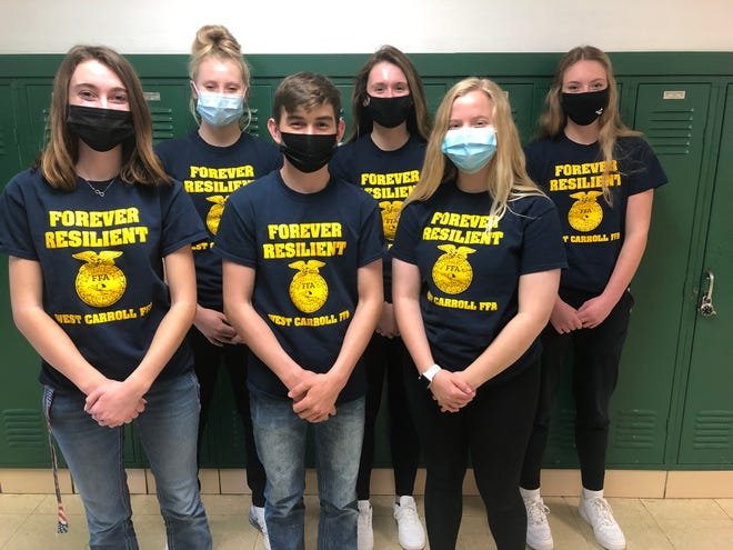 The 2021-22 West Carroll FFA varsity officers were selected virtually March 26. Pictured, from left: Reporter Faith Hovious, Sentinel Lacey Eissens, President Max Eaton, Treasurer Taylor Schmoll, Vice President Aubrey Charles and Secretary Tori Moshure.