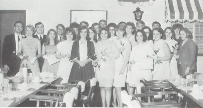Pictures of the Past is from the 1967 Lincoln Community High School yearbook. Featured are students who are active in the honorary Thespians organization. Members were selected on a point basis, by their achievements and contributions in the field of drama.  Members participate in school productions and a recognition banquet is held at the end of the school year. First row: P. Hale, D. Stokes, P. Handlin, L. Robinson, M. Willis, B. Sheftick, J. Splain and J. Wagoner. Second row: Mr. Max Keeler, advisor, J. Berglin, B. Bree, P. Pelc, M. Thuerwachter, M. Murray, A. Schmidt, A. Sheridan, J. Dierker and L. Gallagher. Third row: D. Row, D. Keys, K. Sunderland, S. Sherwood, T. Camp, B. Wertin and C. Stefanec.