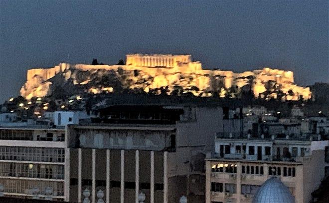 An illuminated Athens.