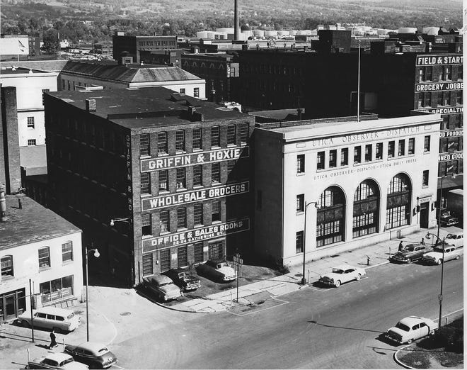 The Observer-Dispatch neighborhood changed quite a bit during the summer of 1966 when the newspaper lost two neighbors, both wholesale grocers – Griffin & Hoxie to the west and Field & Start to the east.Griffin & Hoxie was torn down to make room for a building to house the O-D's recently purchased Goss Mark 1 Headliner printing press. Field & Start was razed to make room for the newspaper's visitor's parking lot facing John Street.