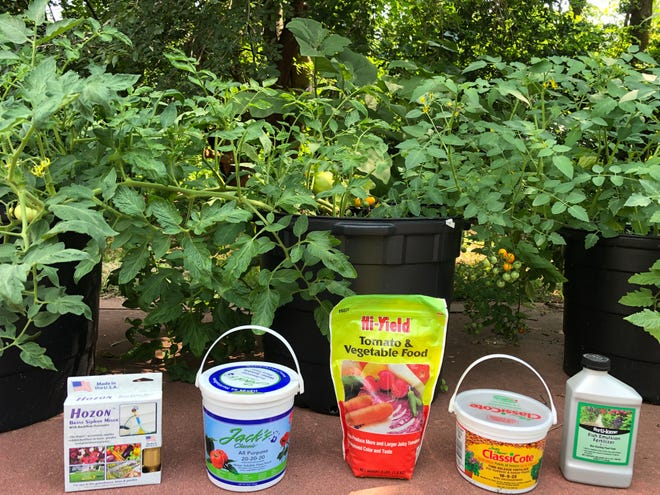Just a few of the many fertilizer choices for feeding your tomatoes, eggplant, other vegetables, lawn, flowers, shrubs and trees.