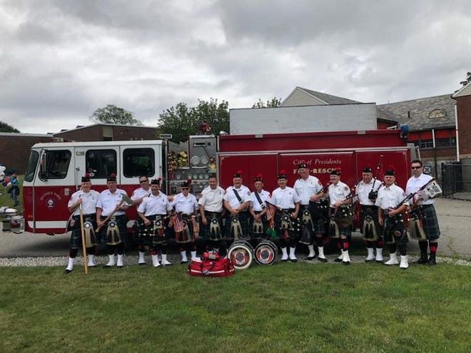 Members of the Greater Boston Firefighters Pipes and Drums  helped save a man's life Saturday.