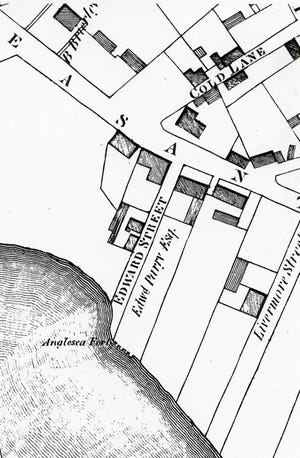 A detail from J.G. Hales' 1813 map of Portsmouth shows the location of Fort Anglesea, the garden folly of Edward Parry, now the location of part of Haven Park.