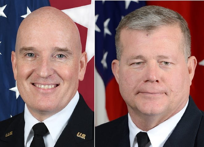 Maj. Gen. Rodney D. Fogg, left, will be replaced as Fort Lee's commanding general Friday by Brig. Gen. Mark T. Simerly, the post announced Tuesday. Simerly's transfer will also come with a second star.