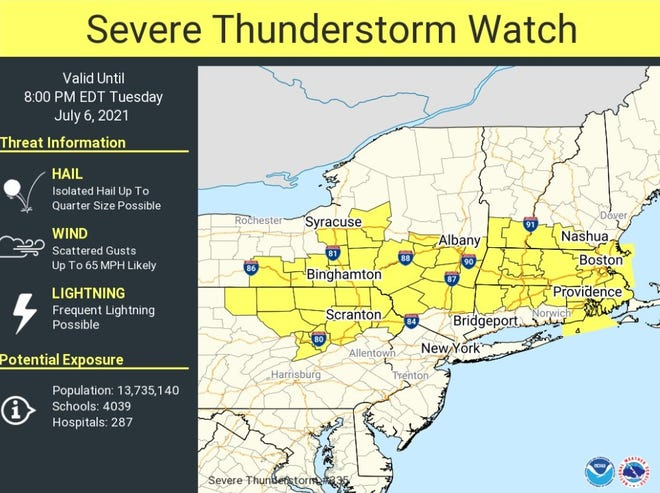 The National Weather Service has issued a severe thunderstorm watch.
