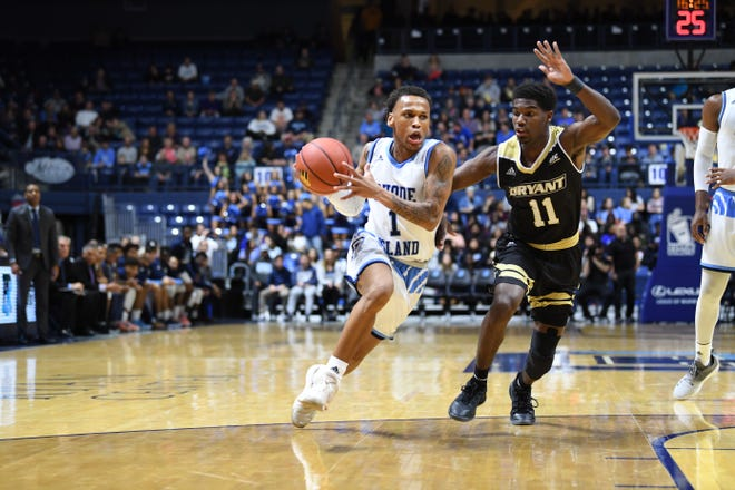 URI plays Bryant in a game on Nov. 6, 2018. The teams will battle again on Nov. 12 as part of the Sunshine Slam tournament.