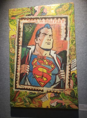 It's a bird, it's a plane. It's a pop art-inspired collage by Greg Gilbert on display at the Maturango Museum in 2018. Gilbert was one of 20 local artists participating in the open studio tour that year.