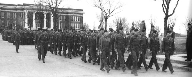 OBU cadets passed in review on the Oval during the 1943-44 school term.