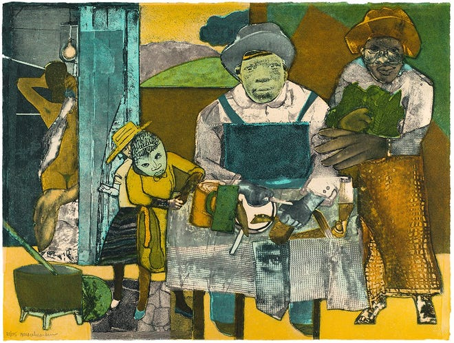 'The Family' by Romare Bearden is a new addition to the permanent collection at Cameron Art Museum.