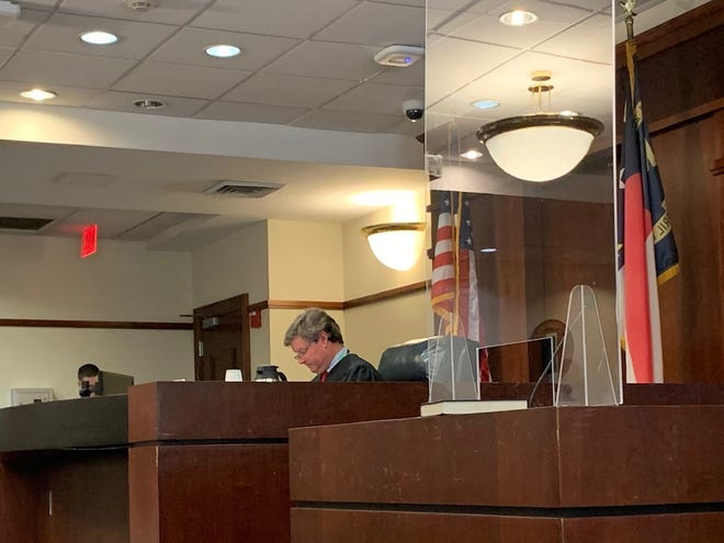 Judge Davis at the New Hanover County Courthouse during Levander Boney's first court appearance.