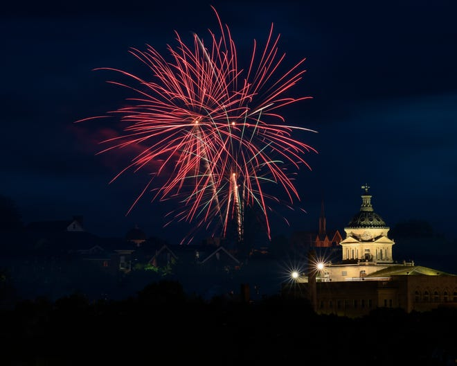 Marcy Beggs, of Somerset, submitted this photo of Friday night's fireworks and the Somerset County Courthouse. She said she had a great view from the northeast side of Somerset.
